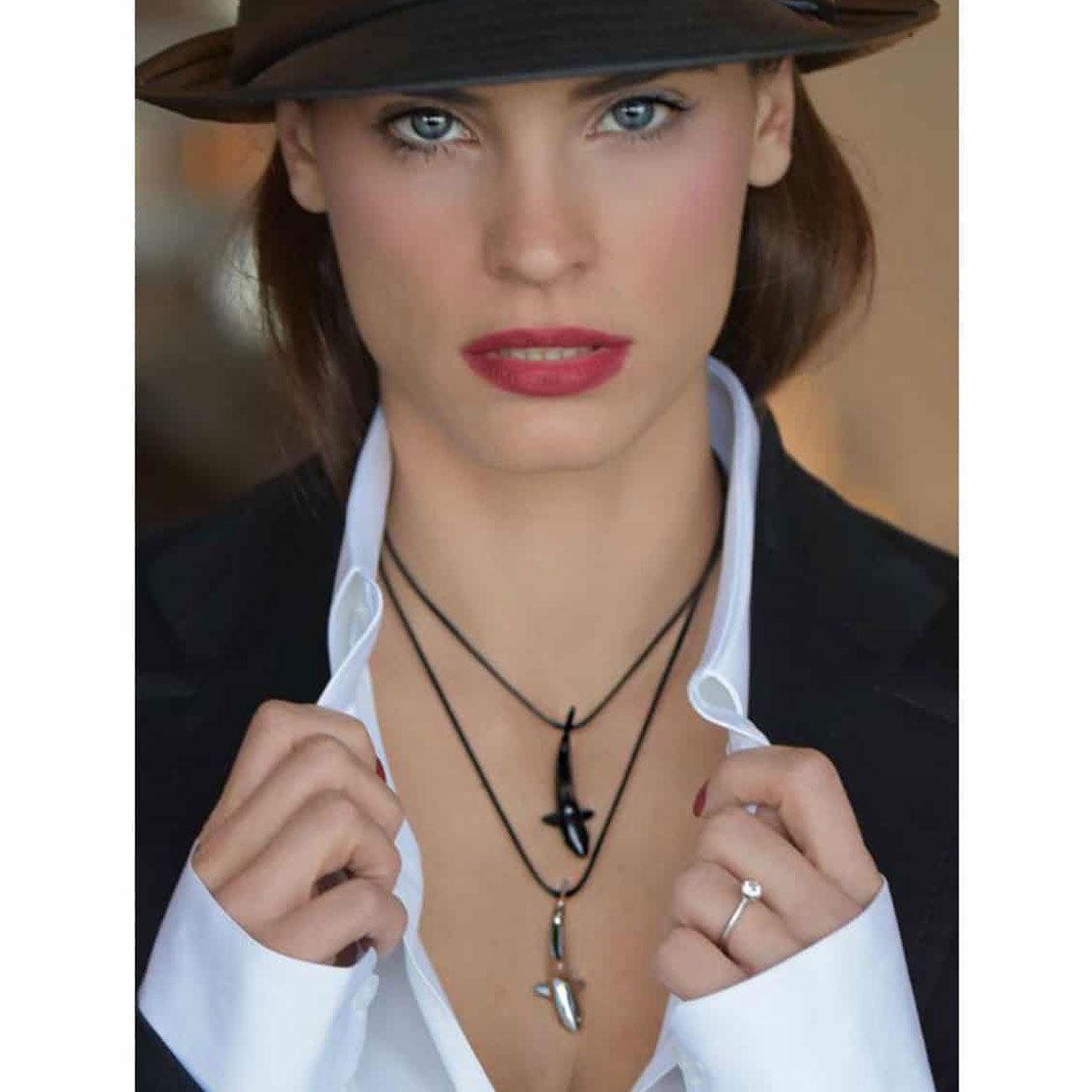 3e0febaf123 MARINA VERNICOS COLLECTION Black Matte Shark Necklace   Necklaces ...